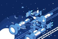 Orbital stations orbiting moon. With gas giant planet vector illustration. Other planets and distant stars and nebulas on the background flat style concept vector illustration