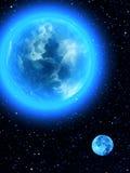 Orbite de satellite de lune de la terre de ciel Photos stock