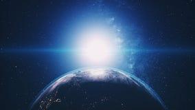 Orbite di pianeta Terra del grafico del computer che nascondono Sun luminoso illustrazione di stock