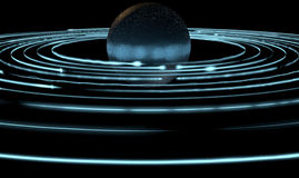 Orbiting Light Trails And Planet. A collection of light rings orbiting round an alien type planet Stock Image