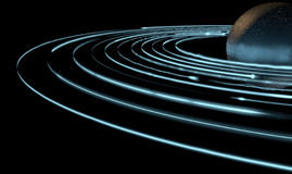Orbiting Light Trails And Planet. A collection of light rings orbiting round an alien type planet Royalty Free Stock Photography