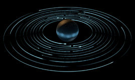 Orbiting Light Trails And Planet. A collection of light rings orbiting round an alien type planet Royalty Free Stock Images