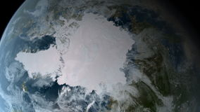 Orbiting over North Pole stock footage