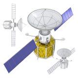 orbiting satellit royaltyfri illustrationer