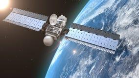 orbiting satellit för jord royaltyfri illustrationer