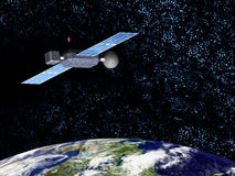 Orbiting satellite. A satellite orbiting earth with a crisp star field on the background vector illustration