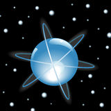 Orbits Around Sphere in Outer Space. Orbits around a glowing blue Sphere in outer space, on a starfield. Illustration Stock Images