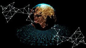 Orbits of global information. digital data orbits. world network technology. technology communication. royalty free stock photo