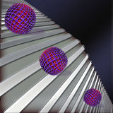 Orbs. Original composition of purple balls, figures in the form of stairs and dark blue background Stock Photo