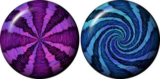 Orbs - spheres. Set of two illustrations of colourful magic spheres Royalty Free Stock Image