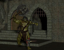 Orc with battle ax in the dungeon Royalty Free Stock Images