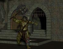 Orc con el hacha de la batalla en la mazmorra Imágenes de archivo libres de regalías