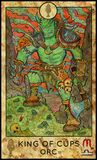Orc. King of cups. Fantasy Creatures Tarot full deck. Minor arcana. Hand drawn graphic illustration, engraved colorful painting with occult symbols Stock Images