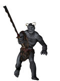 Orc warrior. Horned orc warrior with crude rusty sword Stock Photos
