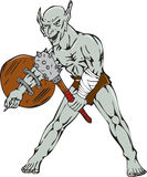 Orc Warrior Hold Club Shield Cartoon Royalty Free Stock Photo