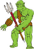 Orc Warrior Monster Trident Cartoon Royalty Free Stock Photo