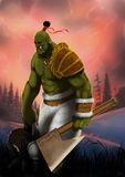 Orc. Warrior scout grabbed and leads him to his camp Stock Image