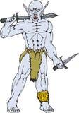 Orc Warrior Sword Dagger Cartoon Stock Images
