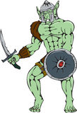 Orc Warrior Sword Shield Cartoon Royalty Free Stock Images