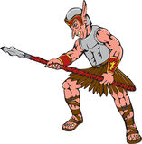 Orc Warrior Thrusting Spear Cartoon. Cartoon style illustration of an orc warrior thrusting a spear viewed from side on isolated background Stock Photography