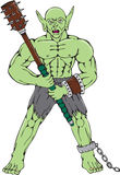 Orc Warrior Wielding Club Cartoon Royalty Free Stock Photos
