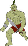 Orc Warrior Wielding Sword Running Cartoon Stock Image