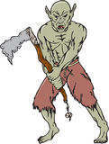 Orc Warrior Wielding Tomahawk Cartoon Royalty Free Stock Photography