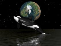 Orca and earth. And sky black Stock Photo