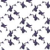 Orca or killer whale. Seamless watercolor pattern Royalty Free Stock Images