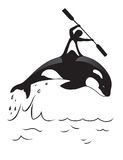 Orca and man. Symbol for water clubs or for placing on T-shirts Stock Images