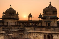 Orcha's Palace at sunset, India. royalty free stock photography