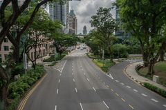 Orchard boulevard Green in Big city royalty free stock images