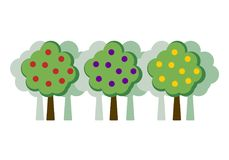 Orchard concept flat vector illustration. Apple tree, plum, orange, pear. Fruit trees in a row against the backdrop of a garden. Trees in a flat style with Vector Illustration