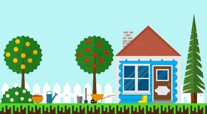 Small Summer House in the Garden with Fence Flat Design vector illustration