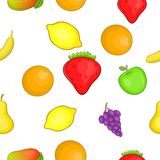 Orchard fruits pattern, cartoon style Stock Images