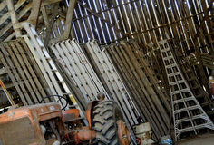 Orchard Ladders. Stored in Vintage Barn Stock Photography