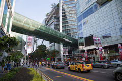 Orchard Road in Singapore. SINGAPORE - CIRCA FEBRUARY, 2015: Orchard Road is the largest shopping district in Singapore, street length 2.2 kilometers. Here are Royalty Free Stock Photography