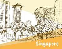 Orchard Road in Singapore. Hand-drawn sketch of Orchard Road in Singapore Stock Photo