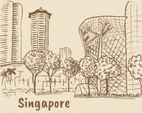 Orchard Road in Singapore. Hand-drawn sketch of Orchard Road in Singapore Stock Image
