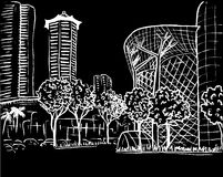 Orchard Road in Singapore. Hand-drawn sketch of Orchard Road in Singapore Royalty Free Stock Photography
