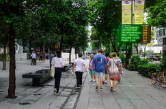 Orchard Road in Singapore. Singapore - Jun 14, 2017. People walking on Orchard Road in Singapore. Orchard Road is the retail and entertainment hub of Singapore Stock Images