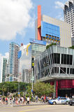 Orchard Road of Singapore. SINGAPORE- MAY 01, 2017: Shoppers and tourists walk along Orchard Road. The area is the prime shopping and entertainment district of Royalty Free Stock Photo