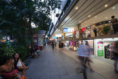 On Orchard Road in Singapore. SINGAPORE - NOVEMBER 06, 2012: The famous street of Orchard Road - this 2.2 kilometer street is the retail and entertainment hub of Royalty Free Stock Image