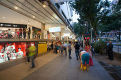On Orchard Road in Singapore. SINGAPORE - NOVEMBER 06, 2012: The famous street of Orchard Road - this 2.2 kilometer street is the retail and entertainment hub of Stock Photo