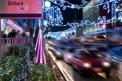 Orchard Road, Singapore. The street and buildings. Orchard Road, Singapore. The street and buildings with lights and decorative items in preparation for Stock Image