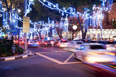 Orchard Road, Singapore. The street and buildings. Orchard Road, Singapore. The street and buildings with lights and decorative items in preparation for Royalty Free Stock Photo
