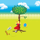 Orchard story: girl playing hide and seek game Royalty Free Stock Image