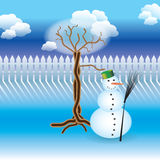 Orchard story: winter and snowman Royalty Free Stock Photos