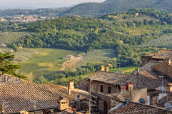 Orchards under the City Walls - Montepulciano Stock Image