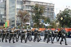 Orchester von Österreich auf Parade von Teilnehmern des internationalen Festivals der Militärorchester Lizenzfreies Stockbild